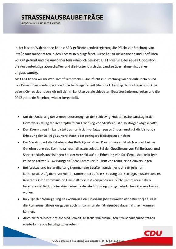 Die Aussagen der CDU Schleswig-Holstein zu den Straßenausbaubeiträgen
